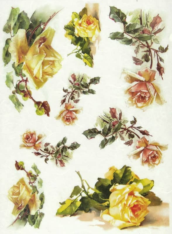 Rice Paper - Yellow Roses