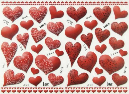 Rice Paper - Red Hearts