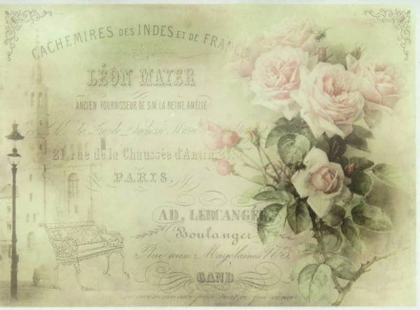 Rice Paper - France Background, Rose