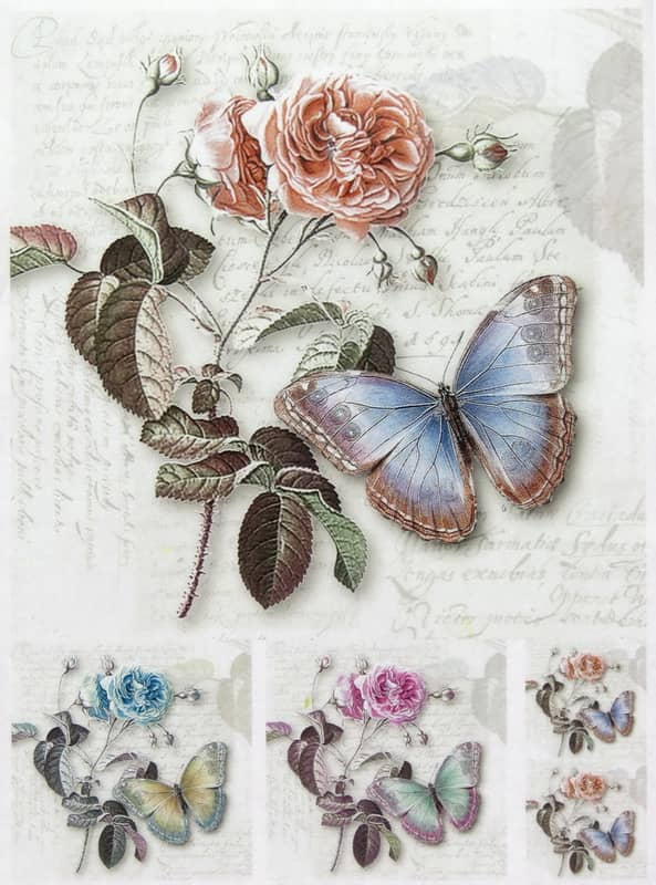 """Rice Paper - """"Rose And Butterfly"""""""