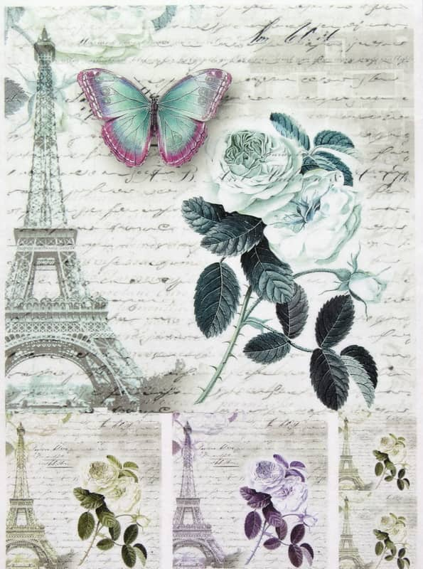 Rice Paper - Paris,Rose,Butterfly