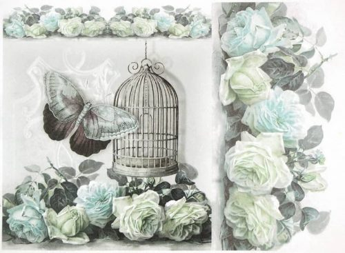 Rice Paper - Cage Rose Butterfly Blue