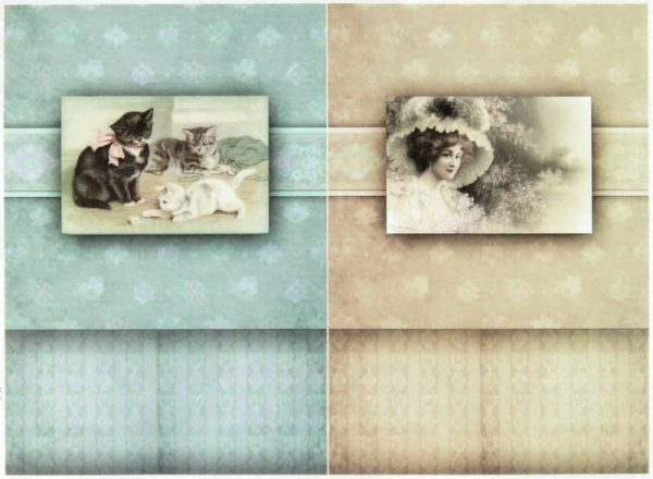 Rice Paper - Vintage Lady and Cats