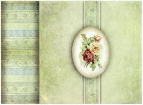 Rice Paper - Vintage Roses Green
