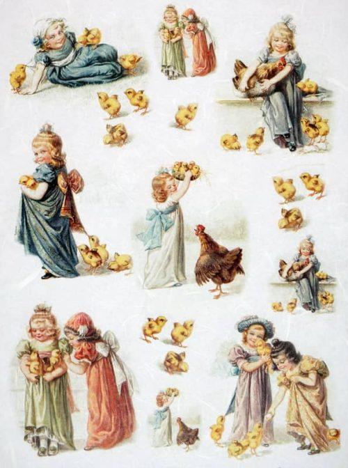 Rice Paper - Vintage Easter Girls