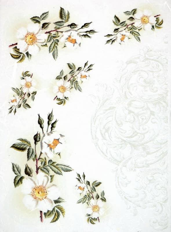 Rice Paper - Vintage Flower Ornament-
