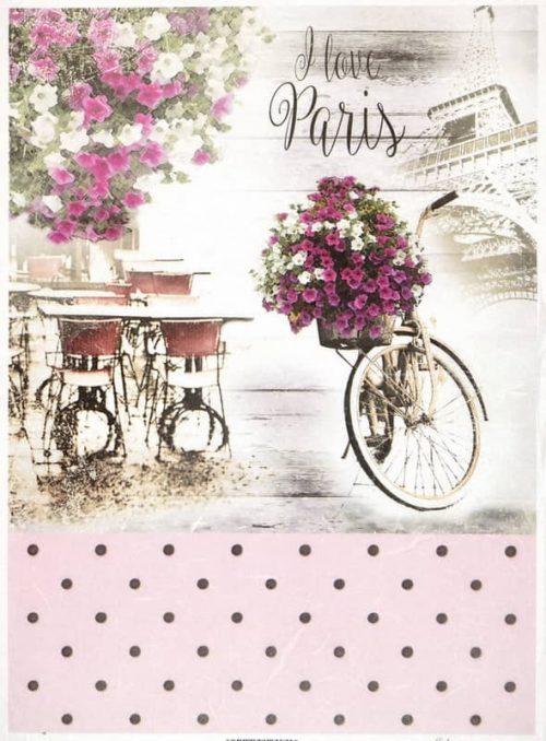 Rice Paper - Vintage Rose Paris Bike