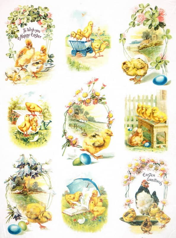 Rice Paper - Vintage Easter Farm