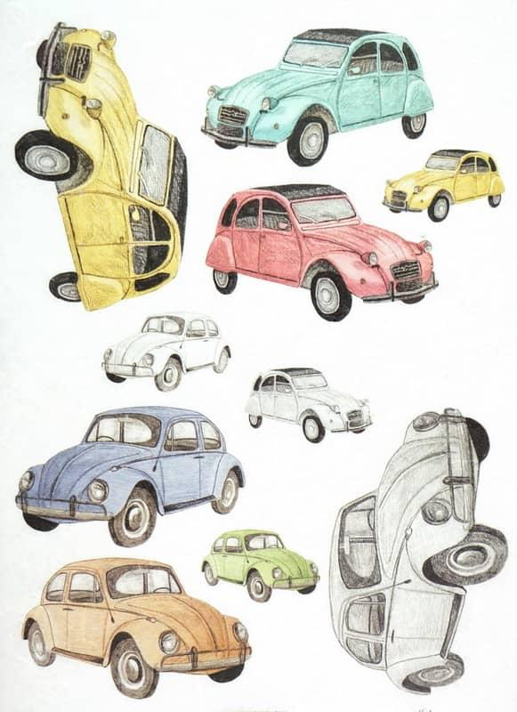 Rice Paper - Veteran Cars VW and Citroen