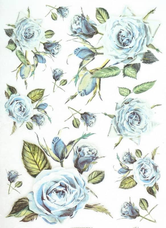 Rice Paper - Vintage Blue Roses
