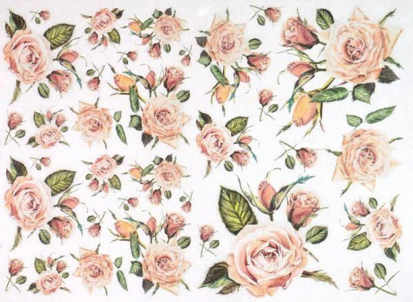 Rice Paper - Vintage Orange Roses