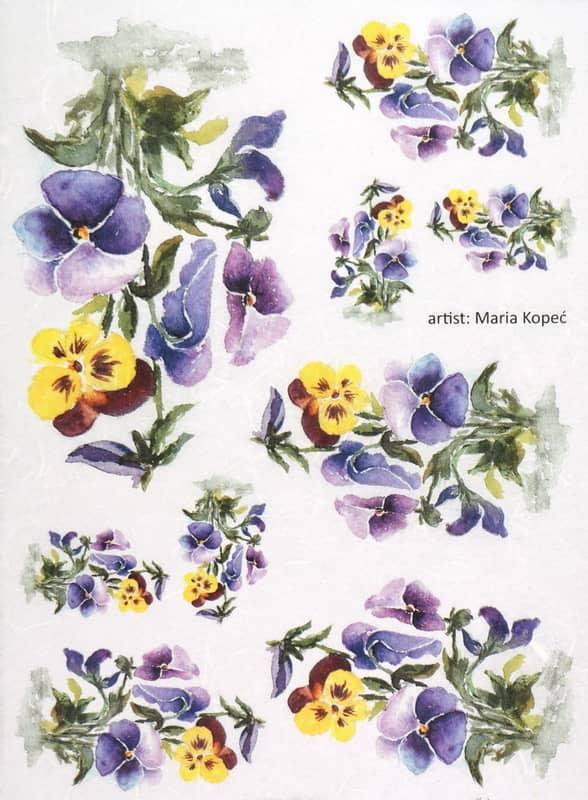Rice Paper - Painted Flower Pansy