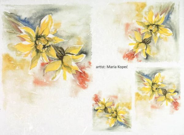 Rice Paper - Painted Flower Yellow