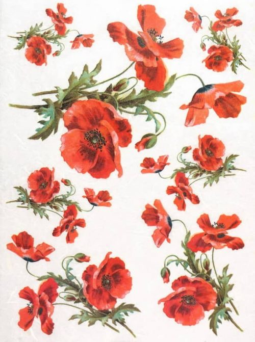 Rice Paper - Red Poppy Midle
