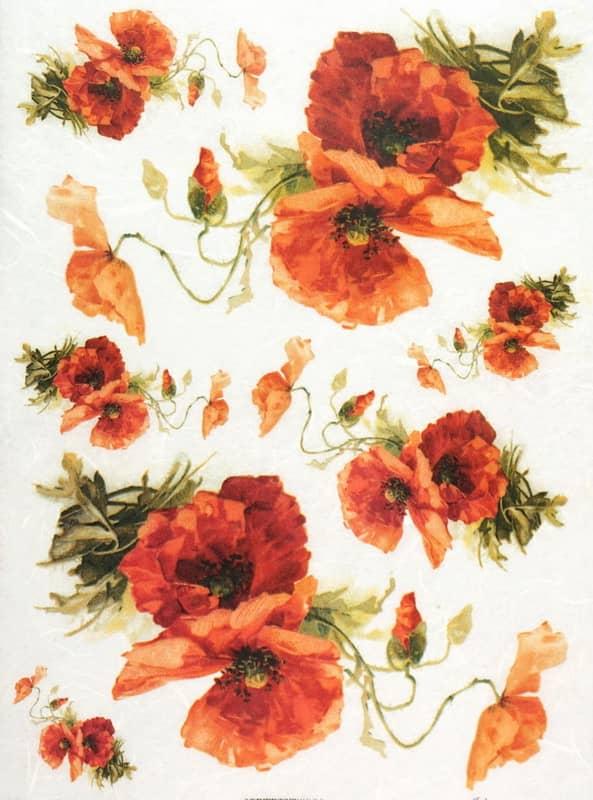 Rice Paper - Orange Poppy