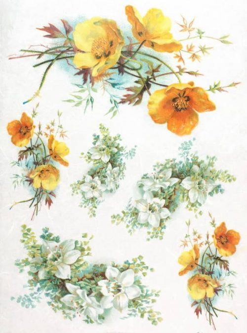 Rice Paper - Yellow, White Flowers