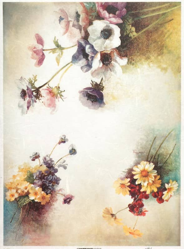 Rice Paper - Vintage Colorful Flower