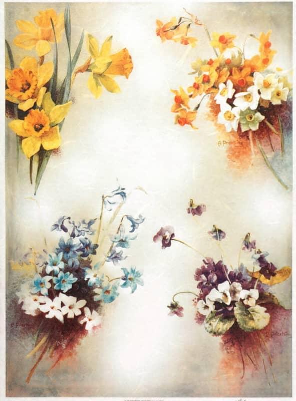 Rice Paper - Vintage Colorful Flower