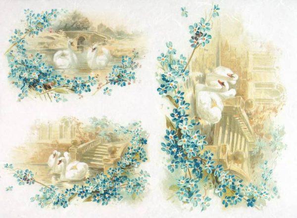 Rice Paper - Vintage Swan Couple