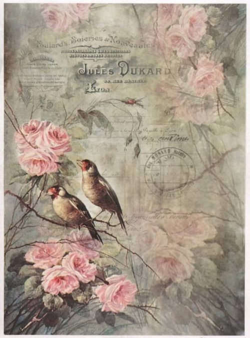 Rice Paper - Vintage Birds on Roses