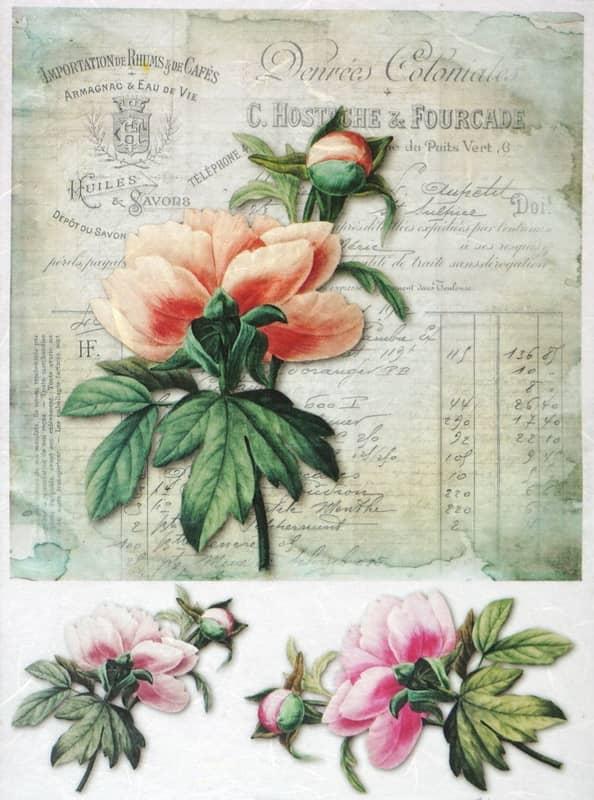 Rice Paper - Vintage Flower Card