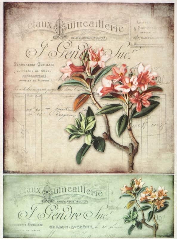 Rice Paper - Vintage Flower Card-