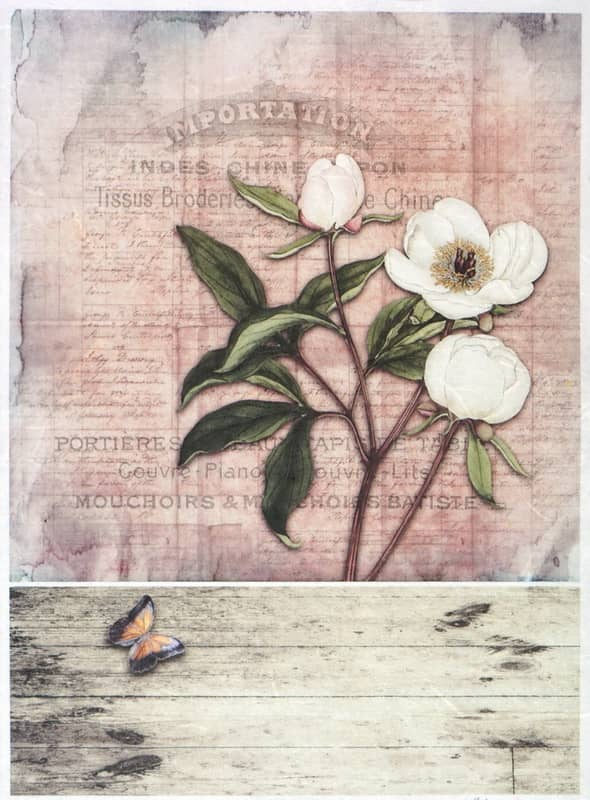 Rice Paper - Vintage White Rose Card