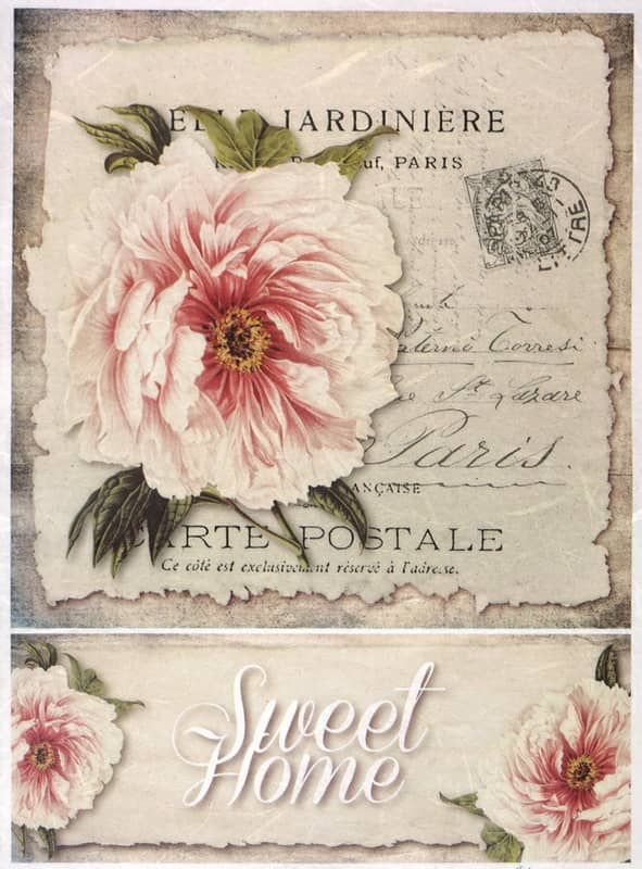 Rice Paper - Vintage Sweet Home Card