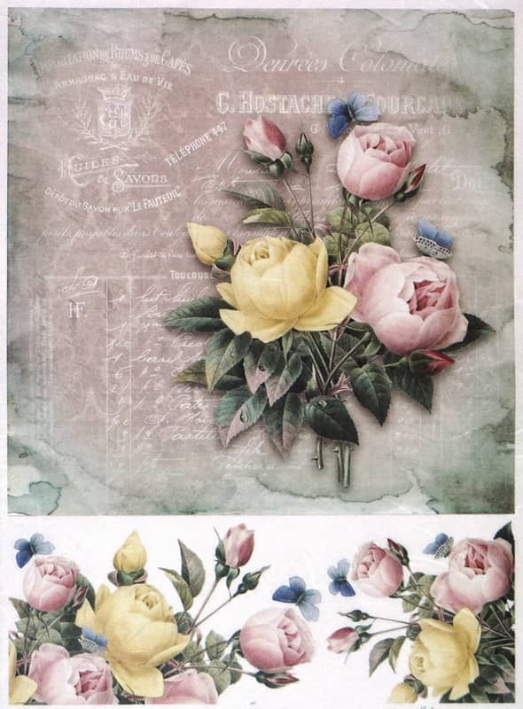 Rice Paper - Vintage Colorful Roses