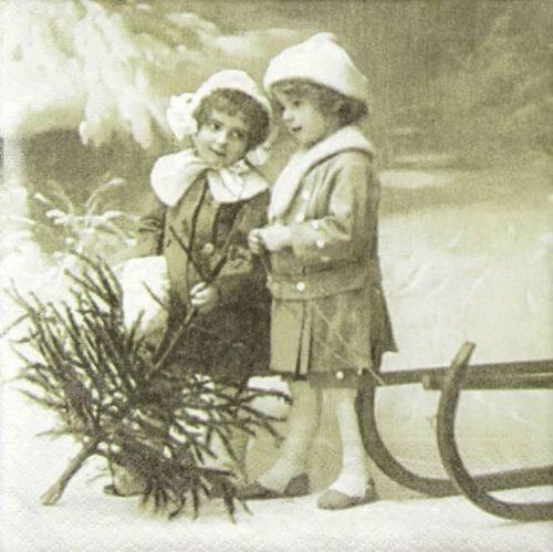 Paper Napkin - Christmas Girls_Sagen_80005