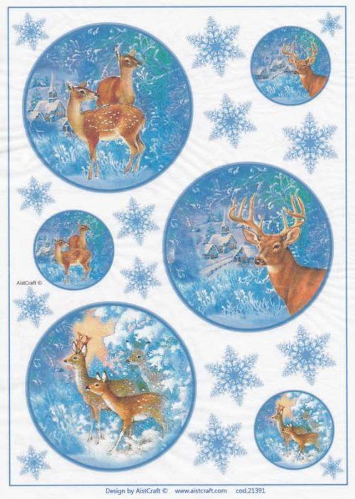 Rice Paper - Winter Deer at Night