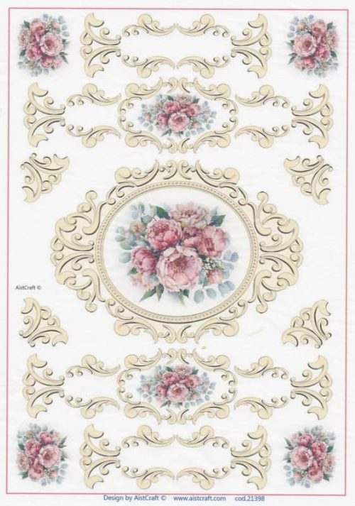 Rice Paper -  Roses in Antique Frames  (Copy)