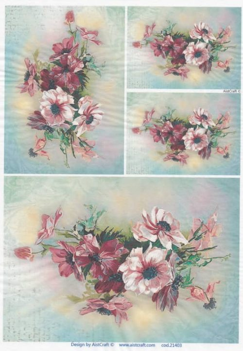 Rice Paper - Flower Bouquets Red
