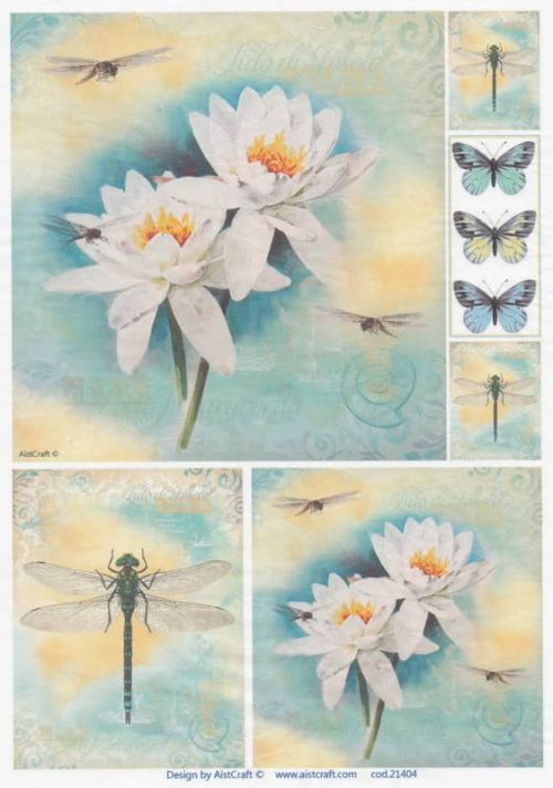 Rice Paper - Waterlily and Dragonflies