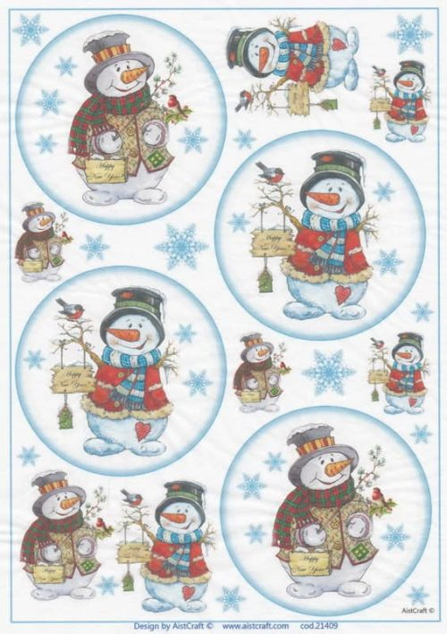 Rice Paper - Snowman with Robin