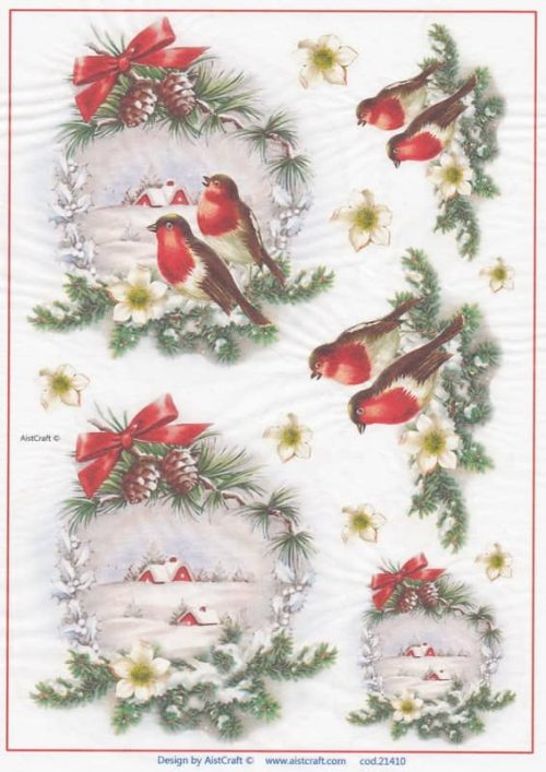 Rice Paper - Winter Landscape  with Birds