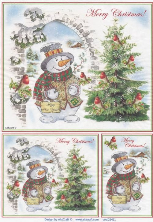 Rice Paper - Snowmen with Christmas Trees