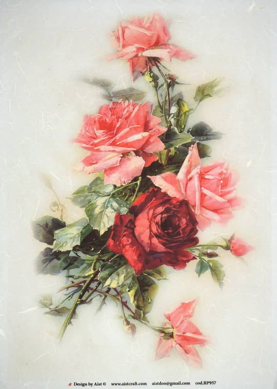 Rice Paper - Pink roses large bouquet