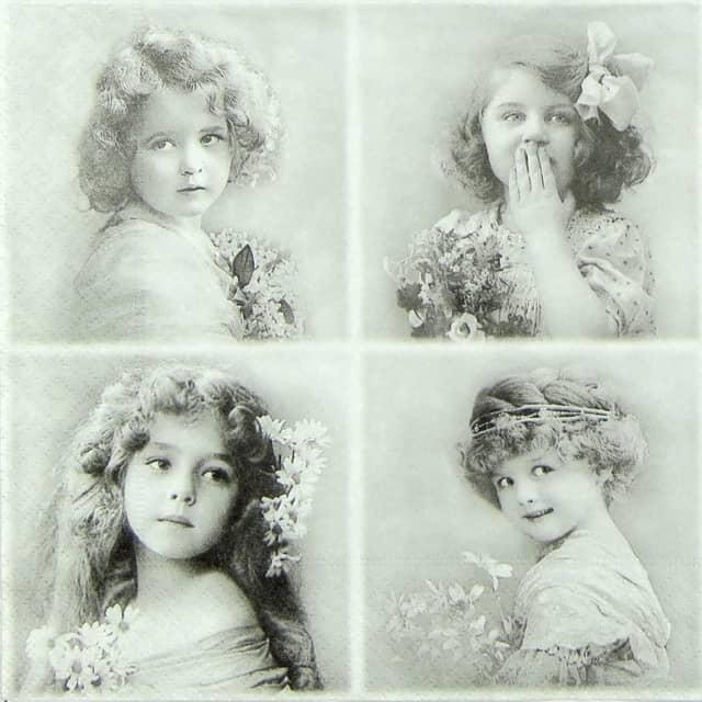 Paper Napkin - Four Flower Girls