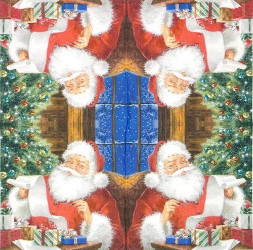 Lunch Napkins (20) - Santa Claus checking Wishlist