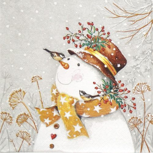 Lunch Napkins (20) - Snowman with golden scarf