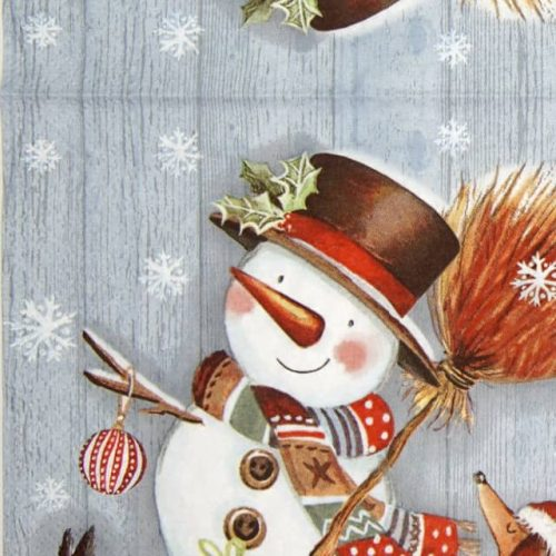 Lunch Napkins (20) - Snowman with Broomstick