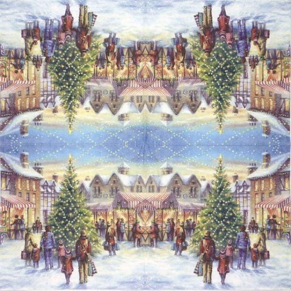 Lunch Napkins (20) - Christmas market with Tree