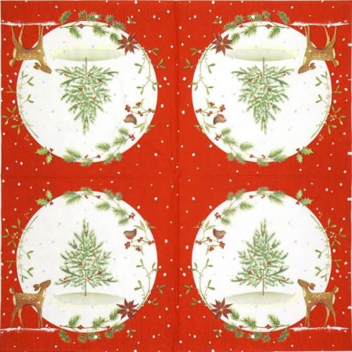 Paper Napkin - Fawn with Christmas tree red