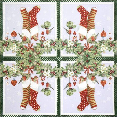 Paper Napkin - Chaussettes avec Guirlande green
