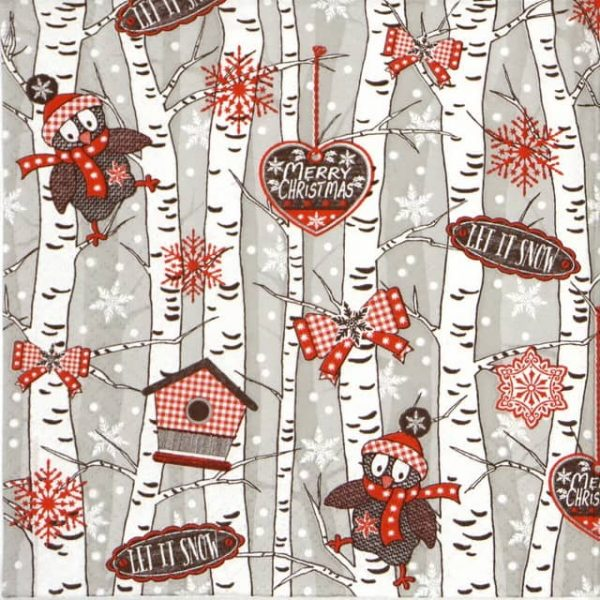 Paper Napkin - Birchwood at Wintertime grey