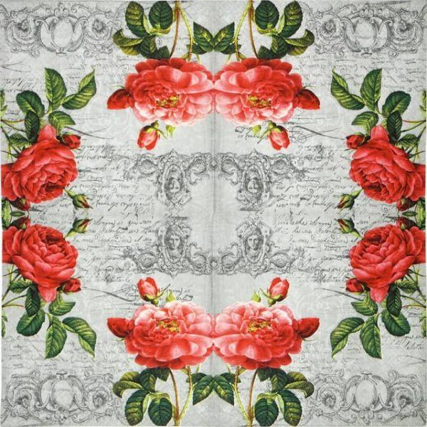 Paper Napkin - Deux Roses Classique black