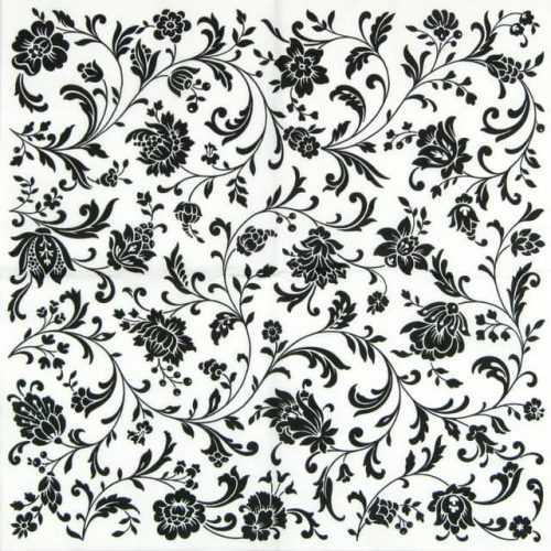 Paper Napkin - Arabesque White and Black
