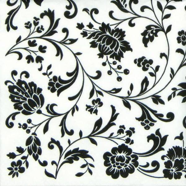 Lunch Napkins (20) -  Arabesque White and Black