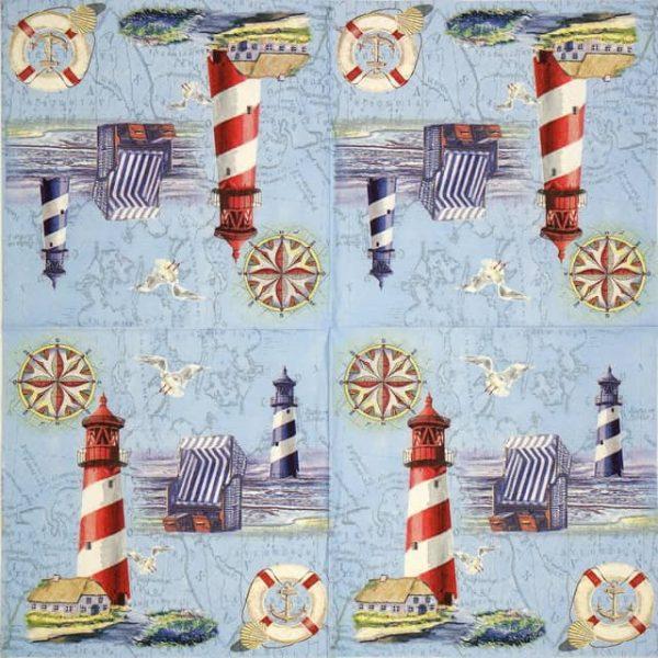 Paper Napkin - Nautical Chart